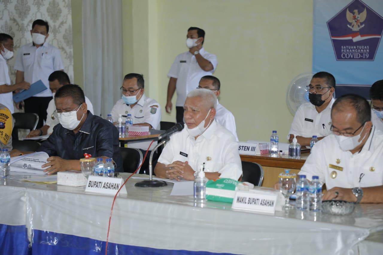 Bupati Gelar Rapat Tindak Lanjut PPKM Mikro Pengendalian Penyebaran Covid-19 di Asahan